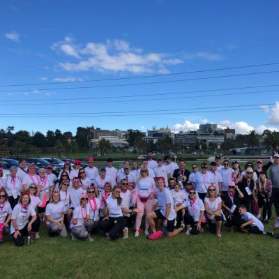 Group of women and men after charity run at Flemington, VIC