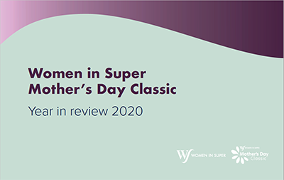 Front cover of Women in Super and Mother's Day Classic 2020 annual report