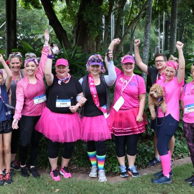 Women dressed in pink for breast cancer charity walk, Brisbane