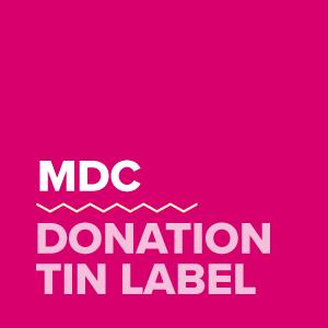 Donation tin label