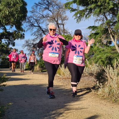 Women walking for breast cancer research in Hobart, Tasmania